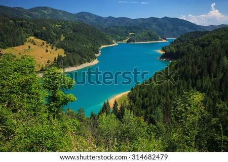 Amazing view of Zaovine lake in west Serbia - stock photo