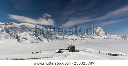 Amazing view on Matterhorn - famous mount in Swiss Alps - stock photo