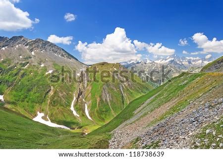 Amazing view over Swiss Alps from Furka Pass (el. 2429 m), Switzerland - stock photo