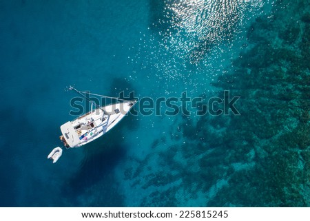 amazing view to boat, clear water - caribbean paradise - stock photo