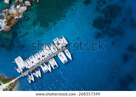 Amazing view to Yachts in harbor - Drone view. birds eye angle. - stock photo