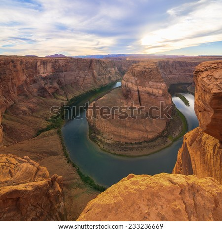 Amazing Vista of Horseshoe Bend in Page, Arizona - stock photo