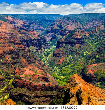 Amazing Waimea Canyon in Kauai, Hawaii Islands. - stock photo