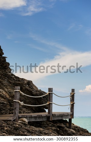 Amazing way,which made from wood, to watch sea view in Thailand - stock photo