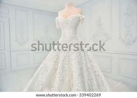 Amazing wedding dress on a mannequin.  - stock photo