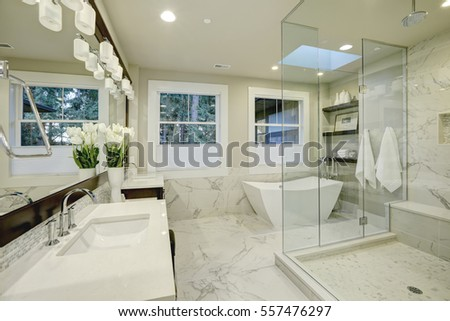 Amazing White And Gray Marble Master Bathroom With Large Glass Walk In Shower Freestanding