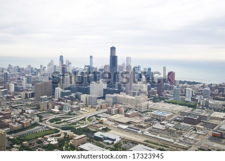 Amazing wide-angle of Chicago's skyline - stock photo