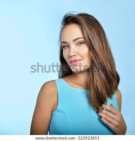 Amazing woman. Perfect female beauty. Girl with clean skin, healthy hair and charisma. Beautiful woman's portrait. - stock photo