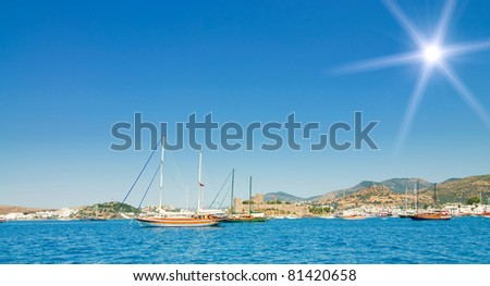 Amazing  yachts at coast Aegean sea .Bodrum city in the Turkey. - stock photo