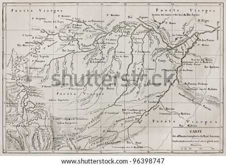 Amazon basin map (unexplored Amazon tributaries reported by French explorer Paul Marcoy). By unidentified author, published on Le Tour du Monde, Paris, 1867 - stock photo