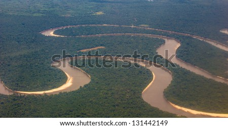 Amazon of Peru, from the air - stock photo