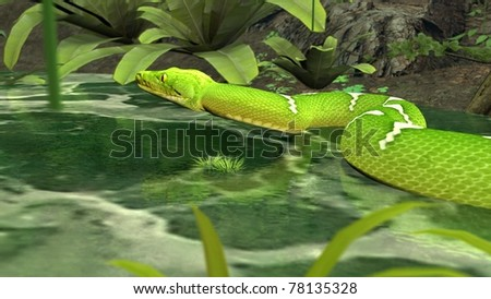 amazon python in water - stock photo