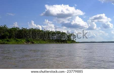 Amazon river margin riverbank and forest - stock photo
