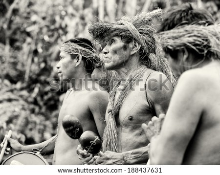 AMAZONIA, PERU - NOV 10, 2010: Unidentified Amazonian local musicians. Indigenous people of Amazonia are protected by COICA (Coordinator of Indigenous Organizations of the Amazon River Basin) - stock photo