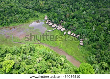 Amazonian Lodge in the rain forest - stock photo