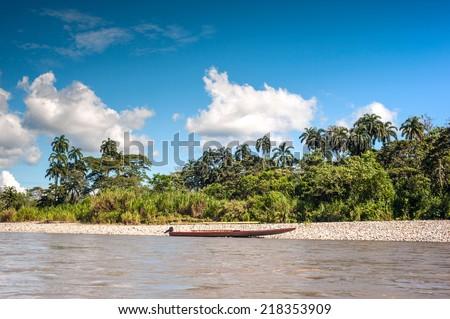 Amazonian rainforest. Napo River. Ecuador - stock photo