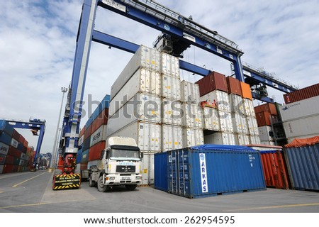 Ambarli, Istanbul,Turkey - MARCH 5 2015. Shipping containers in the Port of Ambarli a major export/import hub on Istanbul. Terminal is the main trading port in European side of the city.
