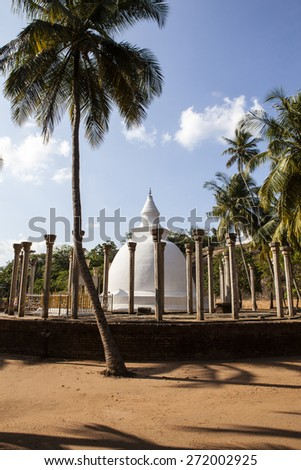 Ambasthala Dagaba, a small stupa surrounded with stone pillars in Mihintale, Sri Lanka - Asia
