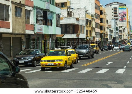 Ambato, Ecuador - 24 January 2014: Cevallos Street Main Circulation Boulevard In Ambato On January 24, 2014 - stock photo