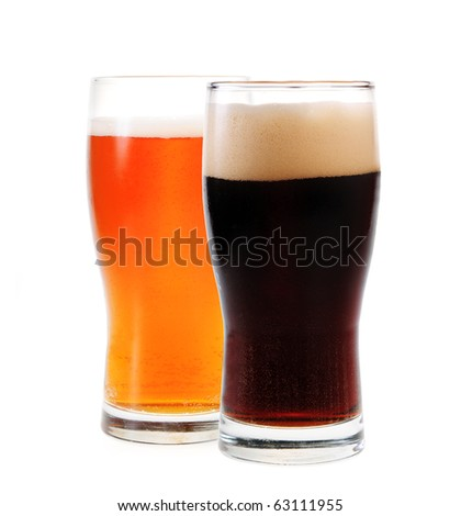 Amber ale and stout isolated on white background - stock photo