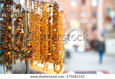 Amber beads for sale on an outdoor  in Gdansk. Poland - stock photo