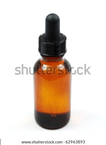 Amber Eyedropper Bottle containing a tincture, herbal remedy or homeopathic drops.
