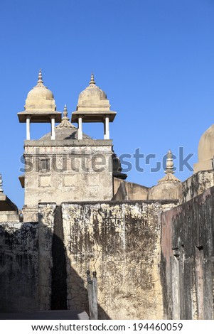 Amber Fort in Amber,India. Constructed by Raja Man Singh I in 1592 , the fort was made in red sand stone and white marble. - stock photo