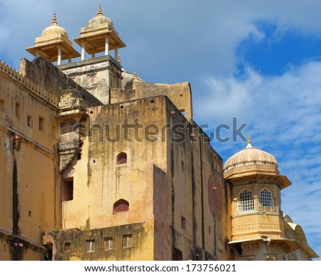 Amber Fort near Jaipur city in Rajasthan, India  - stock photo