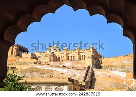 Amber Fort or Amer Fort in Jaipur, Rajasthan state, India - stock photo