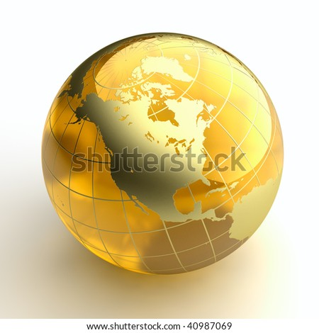 Amber globe with golden continents on white background - stock photo