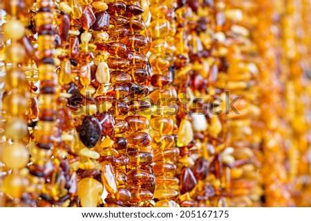 Amber necklace background  - stock photo