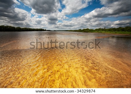 Amber river view - stock photo