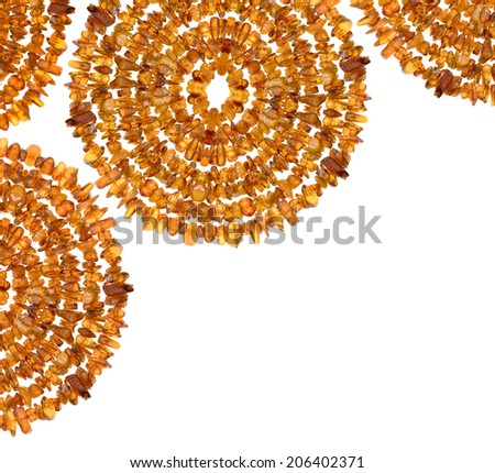 Amber stones from Baltic Sea. Abstract composition on the white background.  - stock photo