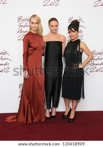 Amber Valletta, Stella McCartney, Salma Hayek in the press room for The British Fashion Awards 2012 held at The Savoy, London. 27/11/2012 Picture by: Henry Harris - stock photo