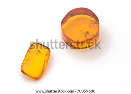 amber with fossil of a fly isolated against a white background - stock photo