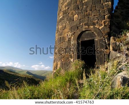 Amberd fortress ruin entrance, Armenia - stock photo