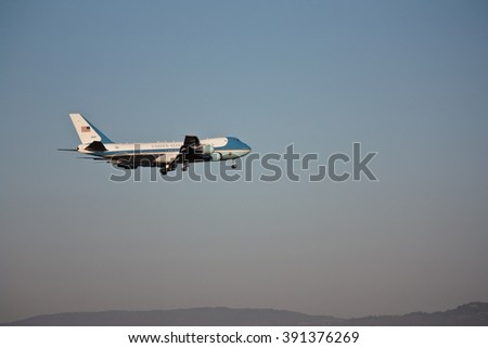 AMBERLEY, AUSTRALIA - NOV 15, 2014: US President Barack Obama in Air Force One arrives at Amberley Air Force Base, November 15, 2014 in Ipswich, Queensland, Australia for G20 Summit in Brisbane - stock photo