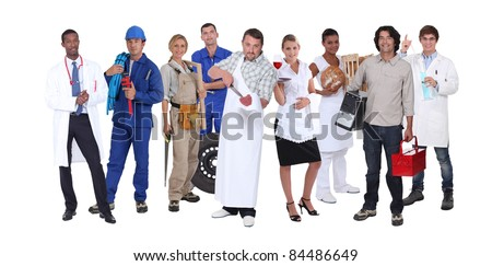 Ambitious workers from different industries - stock photo