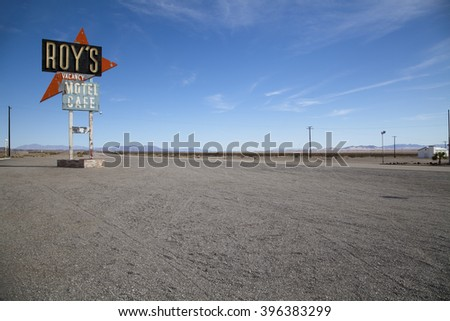 Amboy California USA - February 26 2016: Legendary Roy's Motel and Cafe on historic Highway Route 66