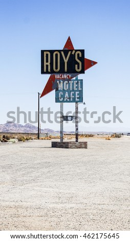 AMBOY, USA - 7 Jul 2016 : Amboy CA Roy's Cafe sign