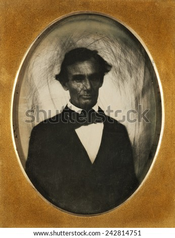 Ambrotype of Abraham Lincoln, taken in Pittsfield, Illinois, two weeks before the final Lincoln-Douglas debate in Lincoln's unsuccessful bid for the Senate, October 1, 1858. - stock photo