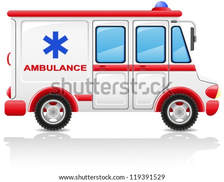 ambulance car illustration isolated on white background - stock photo