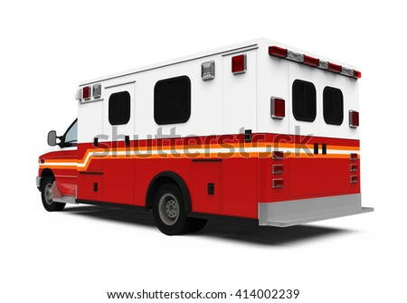 Ambulance Car Isolated on white background. 3D rendering - stock photo