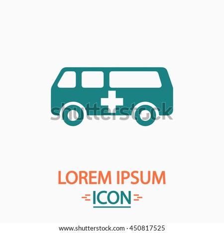 Ambulance. Flat icon on white background. Simple illustration - stock photo