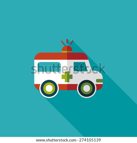 ambulance flat icon with long shadow - stock photo
