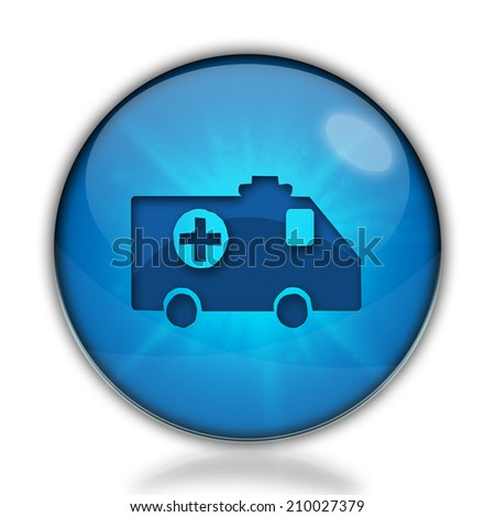 Ambulance icon. Internet blue button on white background. - stock photo