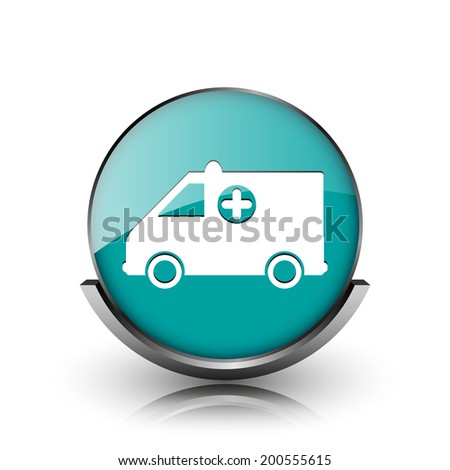 Ambulance icon. Metallic internet button on white background.  - stock photo