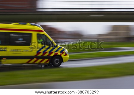 Ambulance in The Netherlands - stock photo
