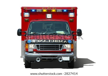 Ambulance isolated on a white background frontral view - stock photo