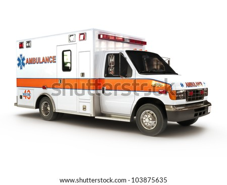 Ambulance on a white background, part of a first responder series,lighted night version also available - stock photo